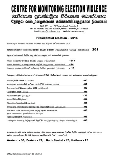Presidential Election 2015- summary 29.12.2014 - Page 1