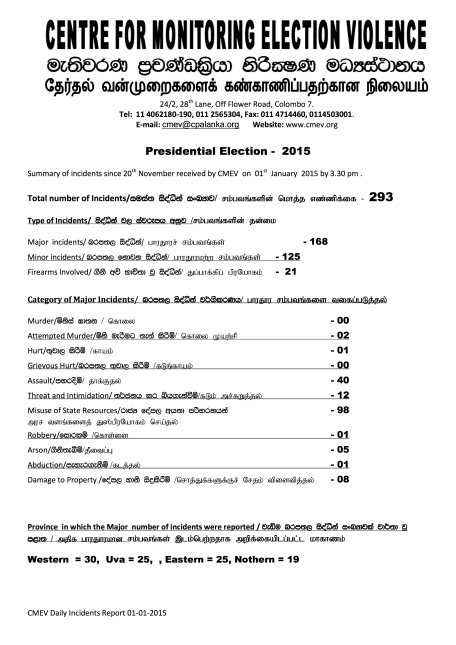 Presidential Election 2015- summary 01.01.2015 - Page 1